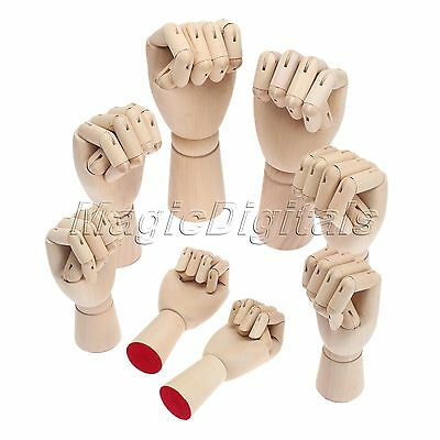 """7"""" - 12"""" Wooden Hand Artist Drawing Movable Fingers Jointed Mannequin Right Left"""