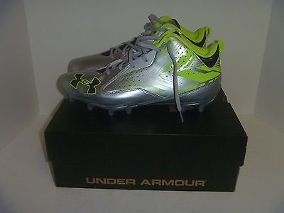 New Men's Under Armour Ripshot MID MC Silver Metallic Neon Lacrosse Cleats 10