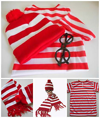 Where's Wally Shirt Hat Glasses Scarf Beanie Waldo Wenda Costume Set Book Week
