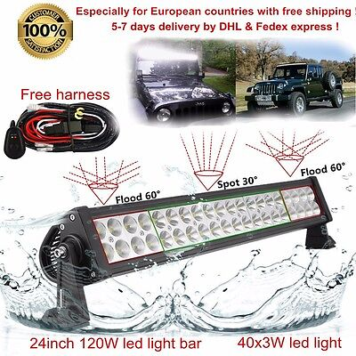 """24inch Flood Spot Led Work Light Bar Offroad Roof Truck Jeep SUV 4WD ATV 22/20"""""""