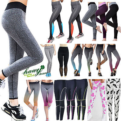 Womens High Waist Leggings Stretch Fitness Yoga GYM Sports Jogging Running Pants