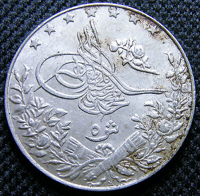 1913 (Ah1327/6) Egypt, Silver 5 Qirsh Coin