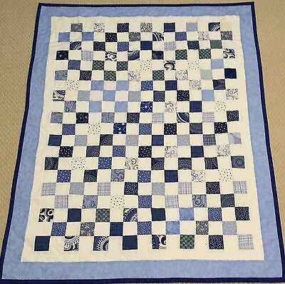 New Handcrafted All Blues Postage Stamp Cotton Baby Quilt
