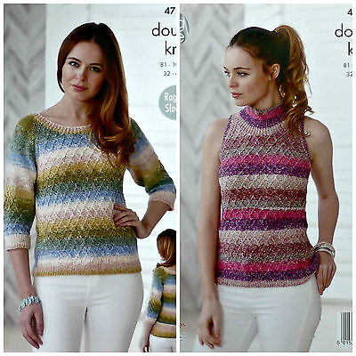 KNITTING PATTERN Ladies Long Sleeve Jumper & High Neck Top DK King Cole 4728