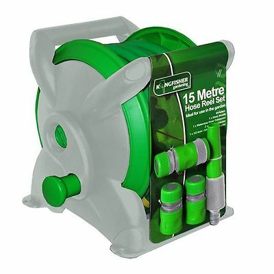 New 15M Compact Reinforced Hose Reel Set Garden Wall Mountable Pipe Spray Nozzle