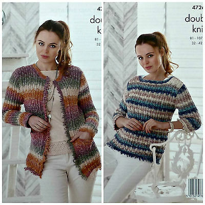 KNITTING PATTERN Ladies Finged Cardigan & Jumper Shine DK King Cole 4726
