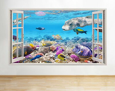 A193 Aquarium Fish Tank Water Living Room Wall Decal Poster 3D Art Stickers Viny