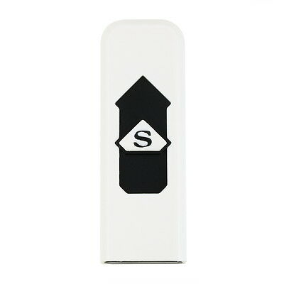 USB Electronic Rechargeable Battery Flameless Cigar Cigarette Lighter White ES8P