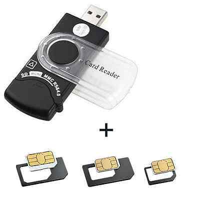 USB SIM Card Reader with Deleted Text Message Software & Micro SIM Adapters