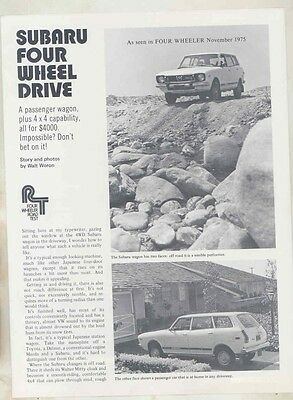 1975 Subaru 4WD Wagon Roadtest Brochure my6407