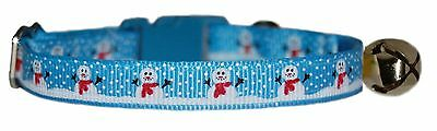 "Christmas Blue or Red   ""Snowman  ""   safety kitten cat collar 3 sizes"