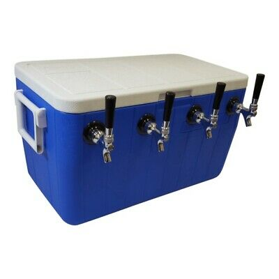 "Jockey Box Cooler - 4 Faucet, 5/16"" x 50' Stainless Steel Coils, 48qt Draft Beer"