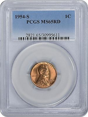 1954-S Lincoln Cent MS65RD PCGS 65 Red Mint State