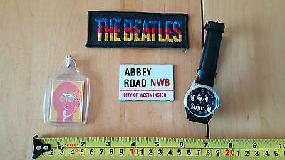 The Beatles:4 items:John KeyRing,Embroidery Patch, Magnetic Abbey Road & Watch!