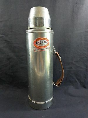 UNO VAC Thermos 64 oz UNBREAKABLE Stainless Steel Leather Handle Hot Cold USA