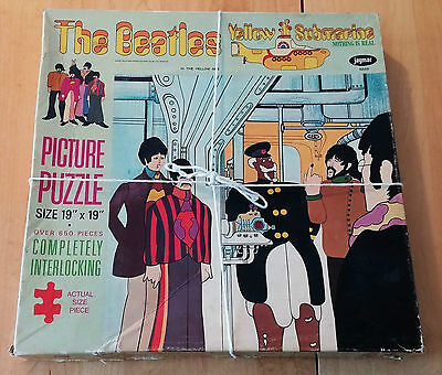 """The Beatles Yellow Submarine Picture Puzzle 1968 19""""x19"""" 650 Pieces Missing Few"""
