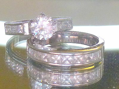2.80 Ct Round  Cut AAA CZ 925 Sterling Silver Wedding Ring Set Women's Size 9