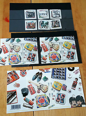 The Beatles Stamps UK COMPLETE Set with 11 Postcards & 4 1st Day Envelopes