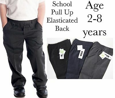 New Boys Kids Pull Up School Trousers Elasticated Back Grey Black Navy 2-8 Years