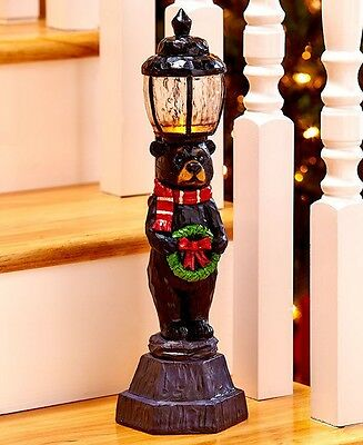 Lighted Bear Holiday Lamppost Christmas Stairway Rustic Cabin Winter Home Decor