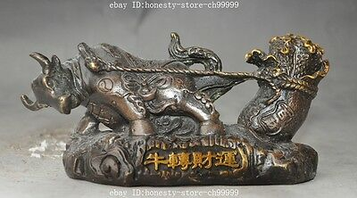 Old chinese fengshui bronze Zodiac Animal Oxen Bull Cabbage wealth lucky statue