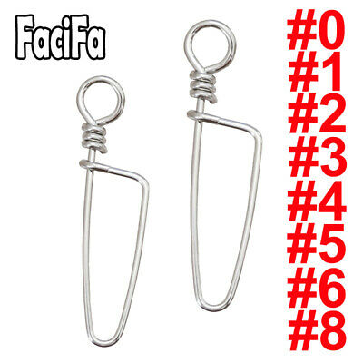Lot 100x Stainless Steel Fishing Coastlock Snaps Fastlock Clips Barrel Swivel