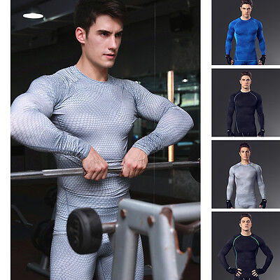 Mens Sports Compression Long Sleeve Base Layer Tops Fitness Gym Tight T-Shirt