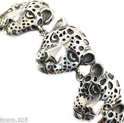 Vintage Style Molina Taxco Mexican 925 Sterling Silver Jaguar Bracelet Mexico