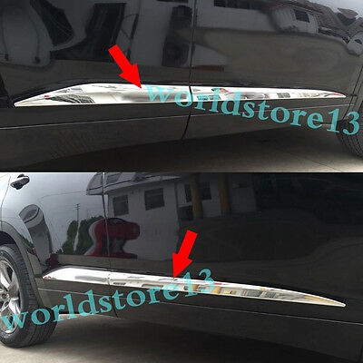 Chrome Body Side Door Molding Cover Trim Garnish fit 2014-2019 Toyota Highlander