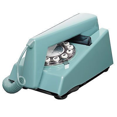 Wild Wood Telephone French Blue Trim Phone Retro Classic Landline Push Button