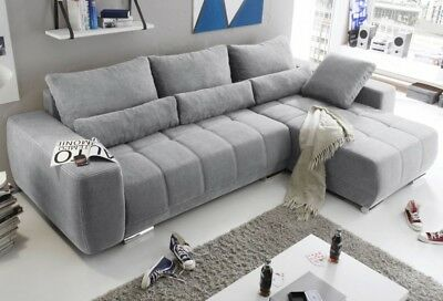 lopez ecksofa mit schlaffunktion couch schlafsofa sofa hellgrau. Black Bedroom Furniture Sets. Home Design Ideas