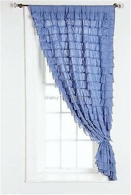 Curtain Panel Shabby French Country Province Blue Ruffle Drapes Chic More Avail