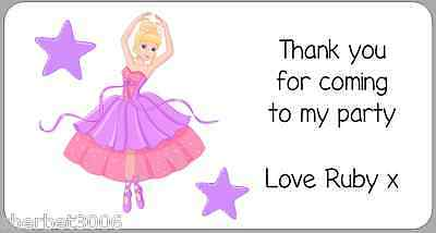 24 x Personalised Stickers Ballerina Ballet Address or Party Thank You Labels
