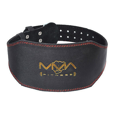 MMA Fitness Pure Leather 6 inch Weight Lifting Gym belts Back Support Wraps.