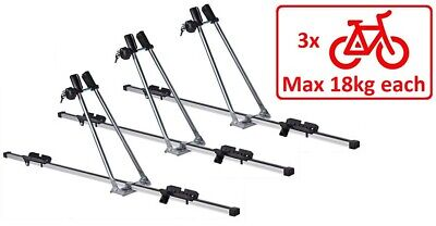 3 x Aluminium Cycle Carrier Roof Mounted Bike Bicycle Car Rack Holder Lockable