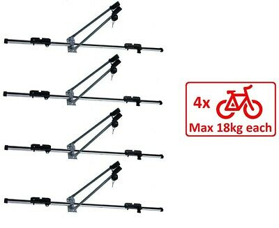 4x Aluminium Cycle Carrier Roof Mounted Bike Bicycle Car Rack Holder Lockable
