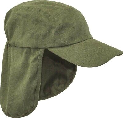 Mens Legionnaires hat Gents UV protection cap long neck flap Summer hiking Olive