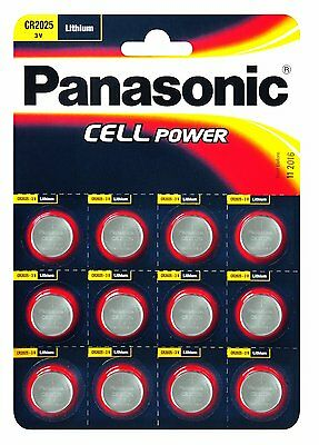 Panasonic CR2025 Specialist High Quality Lithium 3V Coin Batteries Pack of 12