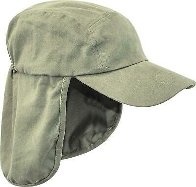 Mens Legionnaires hat Gents UV protection cap long neck flap Summer hiking Grey