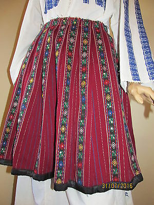 Old hand woven traditional Romanian pleated skirt, hand made ethnic costume