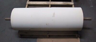 "No Name 14 3/4"" X 42"" 1 11/16"" Shaft Dia. White Rubber Conveyor Belt Head Roller"