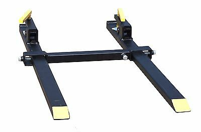 Clamp On Quick Attach Light Duty Pallet Forks w Stabilizer, Tractor Bucket Fork