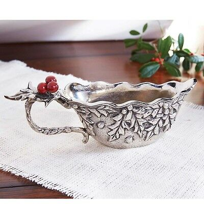Mud Pie MH6 Christmas Holiday Dining Metal Holly & Berry Gravy Boat 4831005