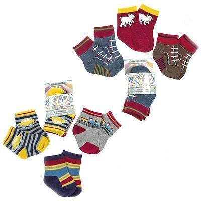 3 Pairs Boys Socks 0-6, 6-12, 12-18 Mths Car/train,mock Trainers Soft Touch