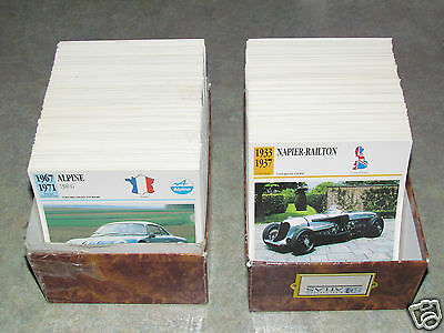 Atlas Editions FRENCH Classic Cars Card Lot Set 1250 Cards All Makes Automobiles