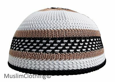 Brown-black-white Nylon KIDS Stetchy Kufi - One-size for Children 18 - 21 inch