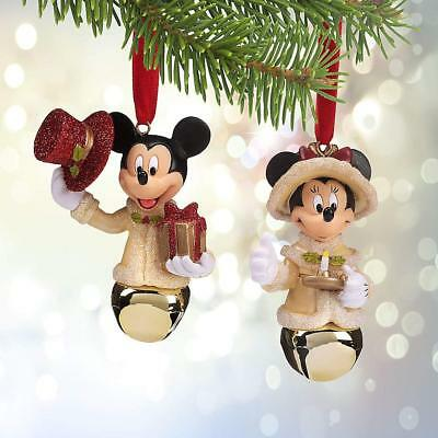 Disney Parks Mickey and Minnie Mouse Victorian Bell Ornament Set of 2 New