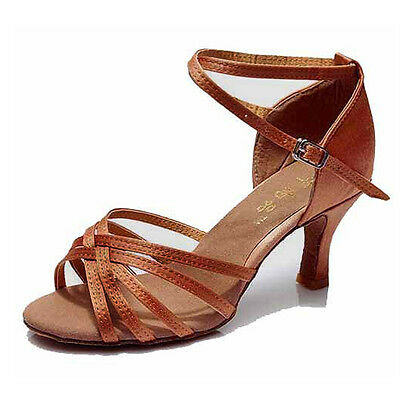 Latin Dance Shoes High Heel 7cm-Knotted Brown,3.5 DW