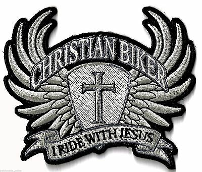 Christian Biker - I Ride With Jesus - Silver - Iron On Patch