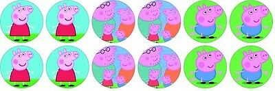 Peppa Pig family ~ Birthday ~ Edible Image Rice Paper cupcake Toppers x 12